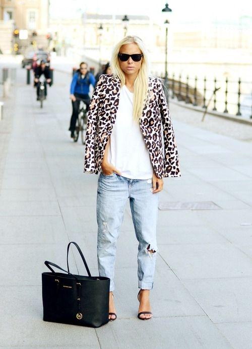 leopard blazer + boyfriend jeans + white tee
