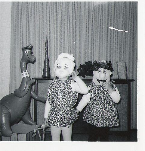 Pebbles and Fred Flinstone-Vintage Halloween-1960s