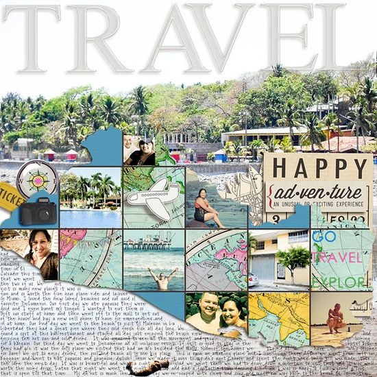 Travel scrapbook page layout using many photos