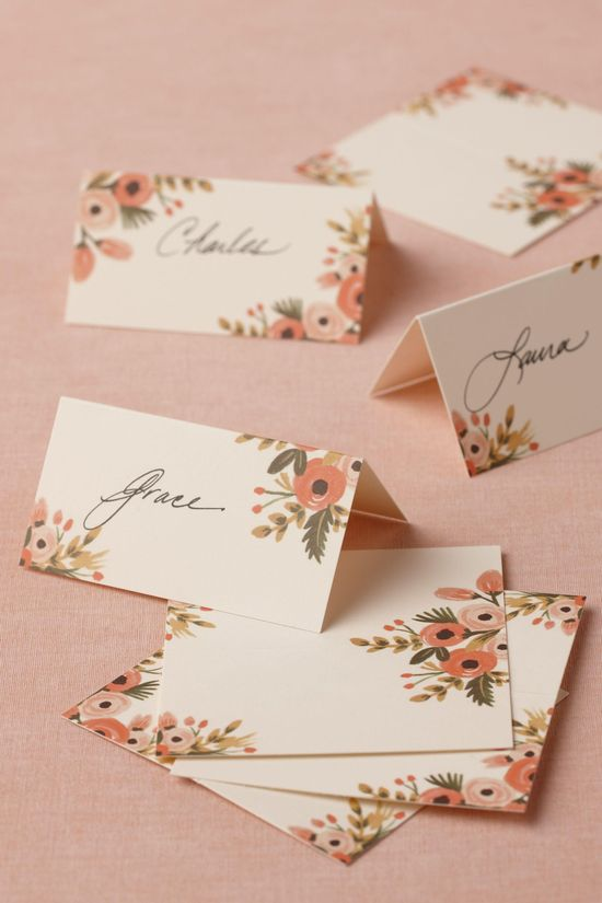 Floral name cards