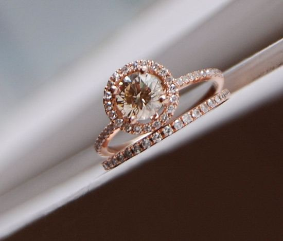 Engagement ring set 0.7ct VS Champagne diamond ring 14k rose gold and matching band. $3,250.00, via Etsy.