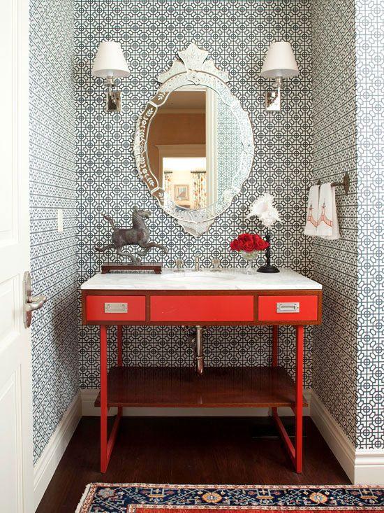 venetian mirror + geometric wallpaper + mod wood & red vanity