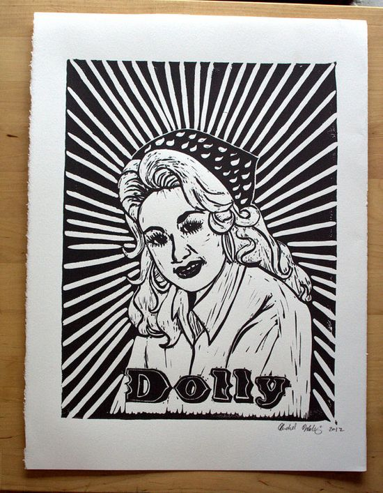 Hand Printed Dolly Parton Linocut Poster via Etsy