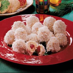 Cherry Snowballs. (1) From: Taste Of Home (2) Webpage has a convenient Pin It Button