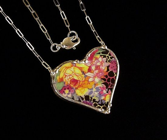 Dishfunctional Designs Broken China Jewelry - Broken china jewelry necklace heart shaped Hazel chintz royal winton yellow rose antique