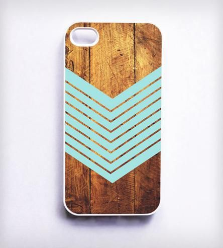 Dark Wood + Chevron iPhone Case -- super cute