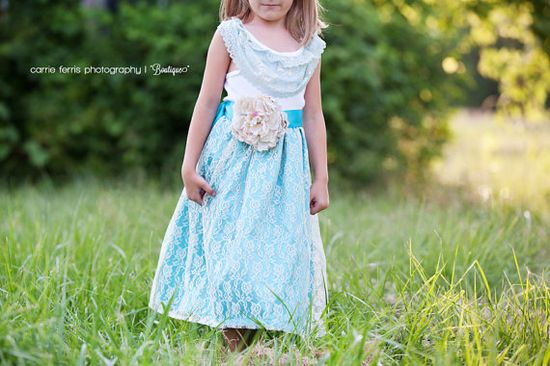 Aqua and Cream Rustic Flower Girl Dress Shabby by chachalouise, $50.00