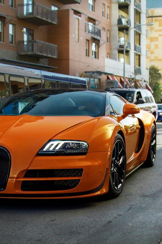 #car #automotive #transportation #wheels  Orange Car Veyron