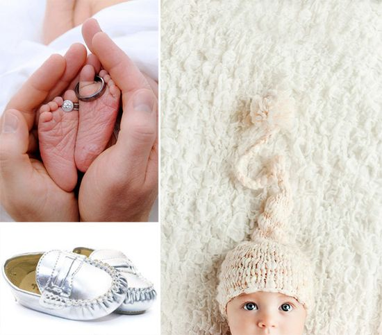 love the idea of the wedding rings on the babies toes. So cute!