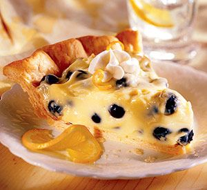 Lemon-blueberry cream pie......Creamy clouds of tart-sweet flavor swirl around your tongue with each bite of this pie.