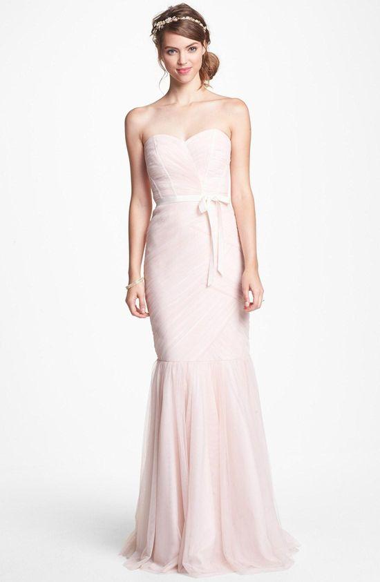 Soft blush tulle trumpet dress by ML Monique Lhuillier Bridesmaids