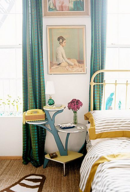 blue yellow bedroom decor