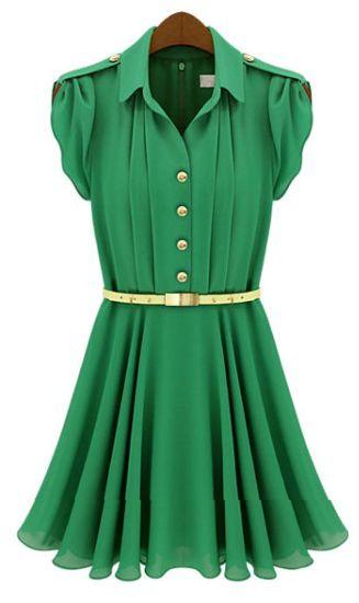 Green Pleated Chiffon Dress #green #emerald #dress