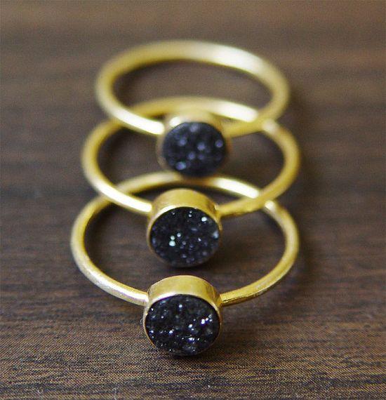 Black druzy Ring in 14k Gold