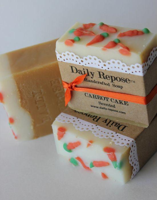 EASTER CARROT CAKE Handmade Soap Bar Natural Vegan Cold Process Soaps $5.75
