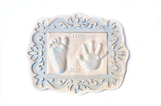 Personalized baby gift of hand and foot print in by Dprintsclayful