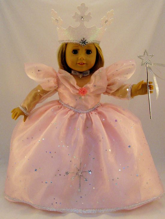 Glinda the Good Witch Gown from The Wizard of Oz, with Crown and Wand sized for American Girl Doll or other 18 inch doll. $56.00, via Etsy.
