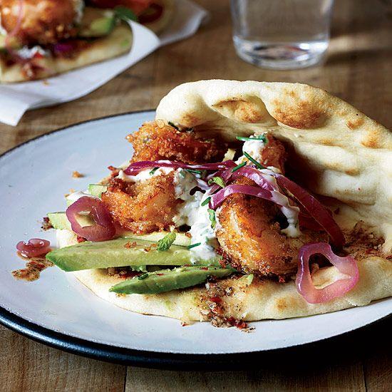Fried Shrimp Flatbreads with Spicy Cardamom Sauce // More Terrific Recipes from L.A. Chefs: www.foodandwine.c... #foodandwine