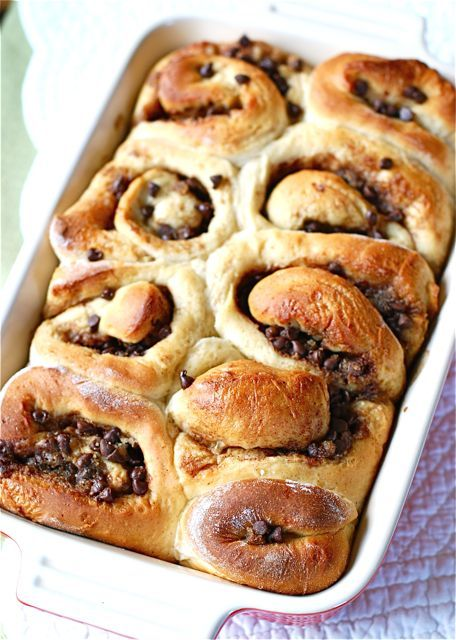 Chocolate chip cinnamon rolls -        I used the pillsbury grands cinnamon rolls unrolled them stuffed with chocolate chips and they were delicious!!