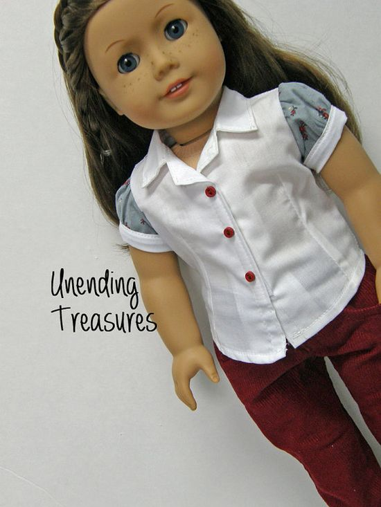 American Girl doll clothes, 18 inch doll clothes, cranberry corduroy jeans, shirt