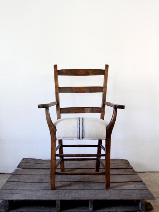 Antique Lodge Chair with European Grain Sack Upholstery. #AmandaJaneJones