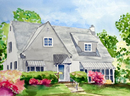 custom watercolor painting of your home #Art #Etsy #Home