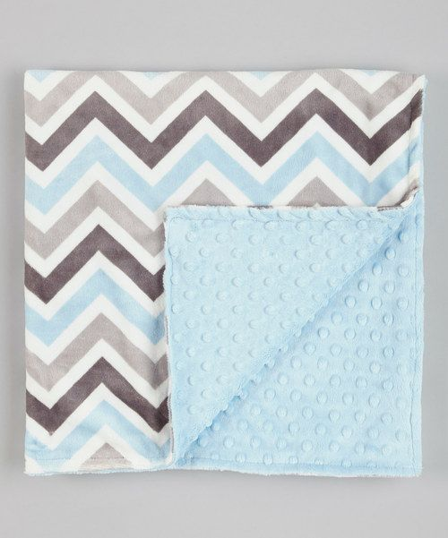 Take a look at this Lolly Gags Baby Blue & Silver Zigzag Minky Blanket on zulily today!