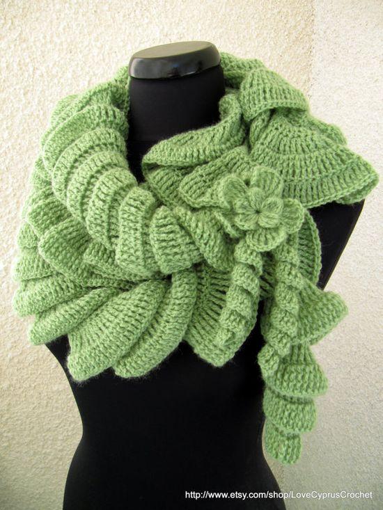 Crochet Ruffle Scarf Pattern PDF Beautiful by LoveCyprusCrochet