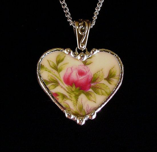 Broken china jewelry moss rose porcelain by dishfunctionldesigns