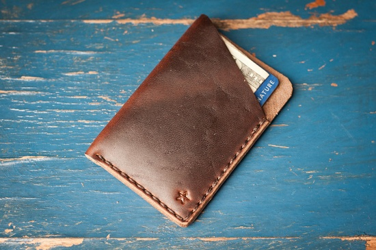 The Minimalist: micro card wallet, hand stitched Horween leather - brown/brown. $25.00, via Etsy.