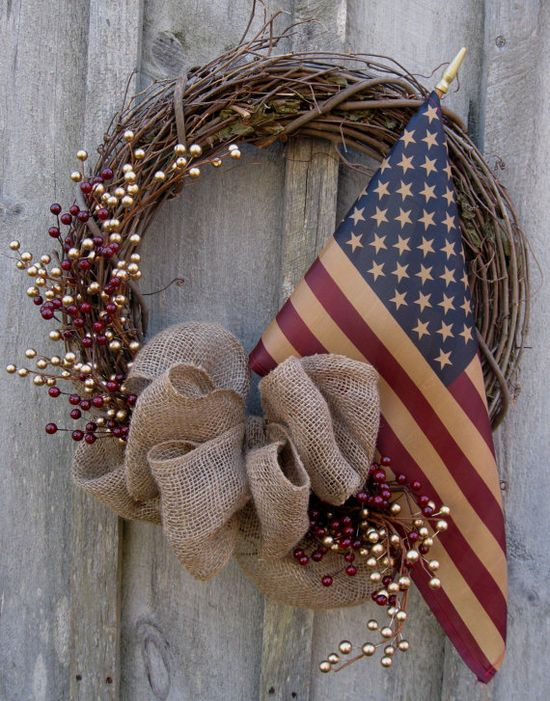 simple wreath with flag, pip berries and burlap bow...