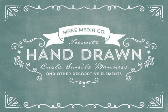 Check out Hand Drawn Curls, Swrils & Banners by MakeMediaCo. on Creative Market