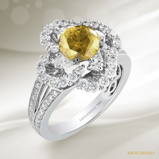 Mouawad White and Yellow Diamond, 18K White Gold Ring