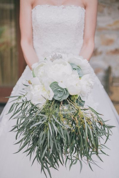 #white #peonies and #succulents #bouquet Photography by edytaszyszlo.com  Read more - www.stylemepretty...
