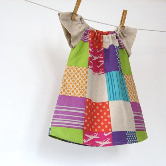 Jet Set Peasant dress in Out of Print, hard to find Echino import with natural linen sleeves