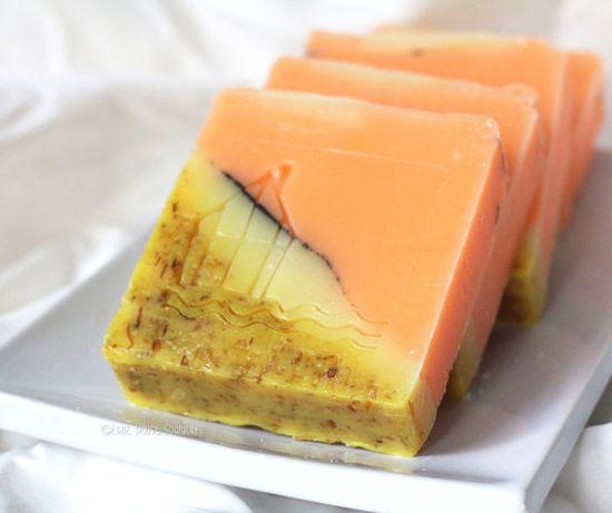 Lemongrass Tangerine Cold Process Soap with Shea Butter, Avocado Oil and Calendula Petals - Great Gift Idea