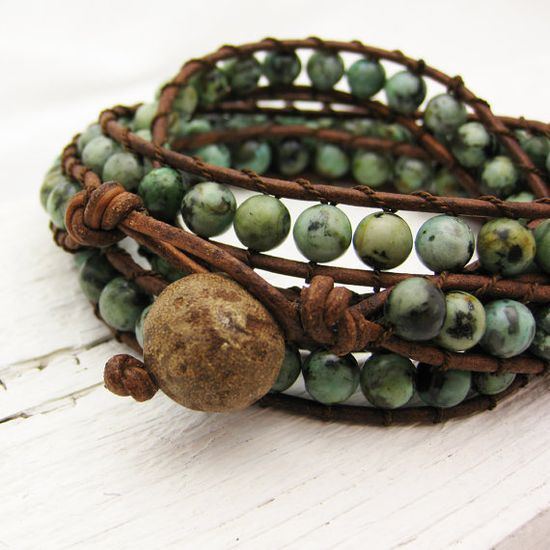 African Turquoise Leather 4x Wrap Bracelet / bohemian green mint natural woodland garden fashion