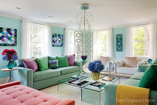 modern interior design and decor in blue and green colors