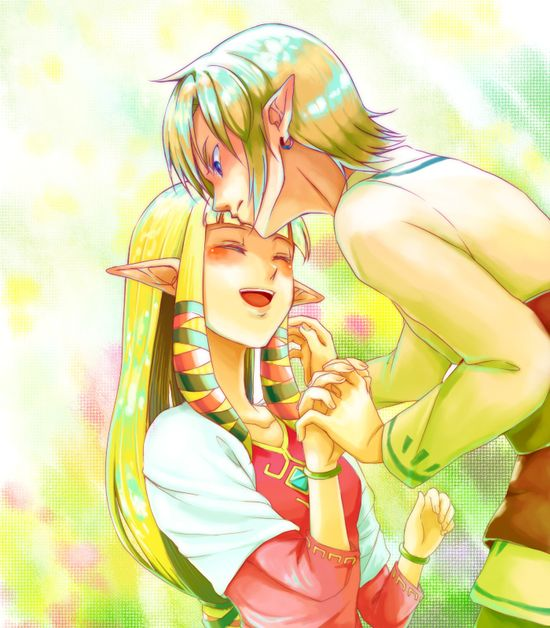 Zelda and Link (from Skyward Sword) kiss