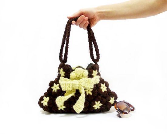Free Shipping Crochet Handbag Brown Midi Bag Flowered by aynikki, $45.00