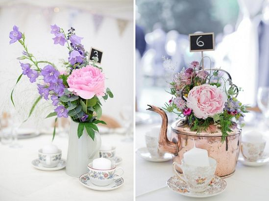 Flowers in tea pots