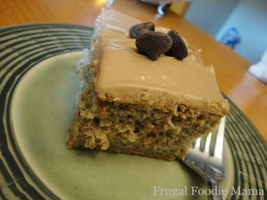 Banana Chocolate Chip Cake with Nutella Cream Cheese Frosting on MyRecipeMagic.com