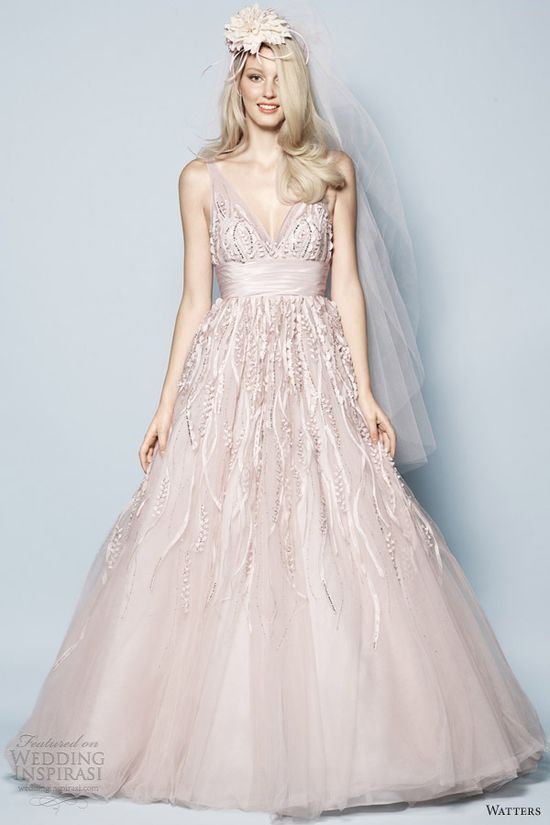 watters spring 2013 pink wedding dress soledad strapless gown