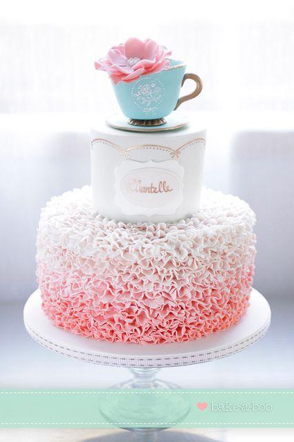 Vintage High Tea ruffle cake by Bake-a-boo Cakes NZ, via Flickr