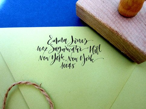 Custom Calligraphy Address Stamp - Rebel Stout Style - Angelique Ink