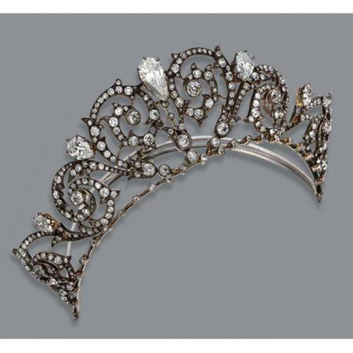 Diamond Tiara with Marquis diamonds and scrolls.