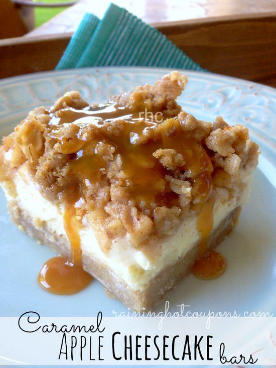 Caramel Apple Cheesecake Bars Recipe - BEST Cheesecake ever!!! (Click Image)