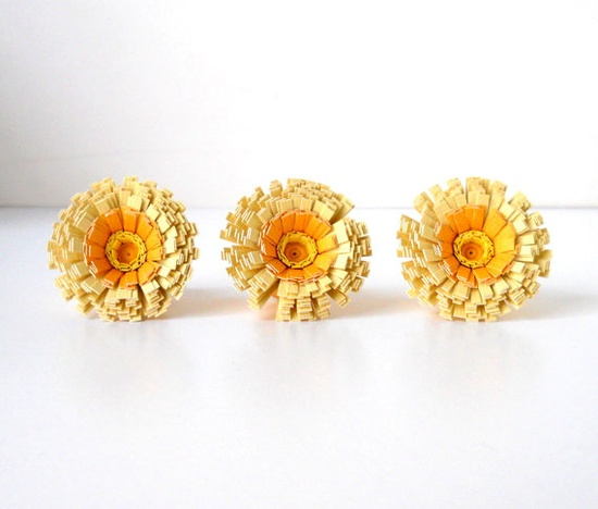 Happy handmade paper flower push pins by LBCpaper on Etsy