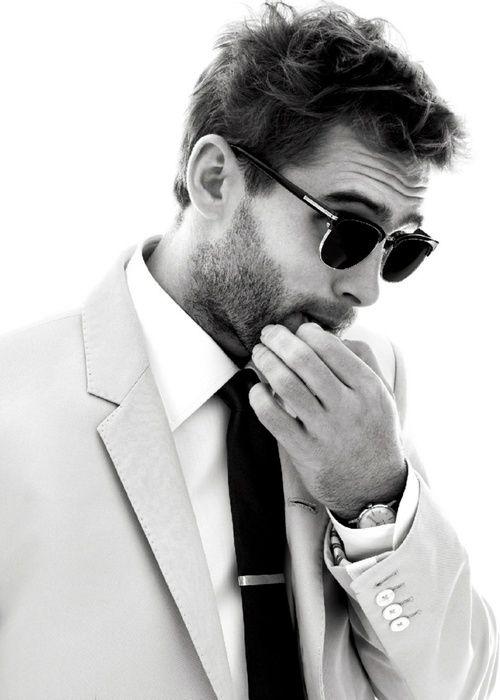 .scruff, glasses, jacket lining, tie, watch...
