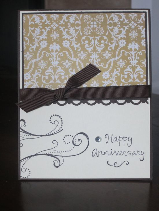 Fancy Damask Happy Anniversary Handmade Greeting Card via Etsy